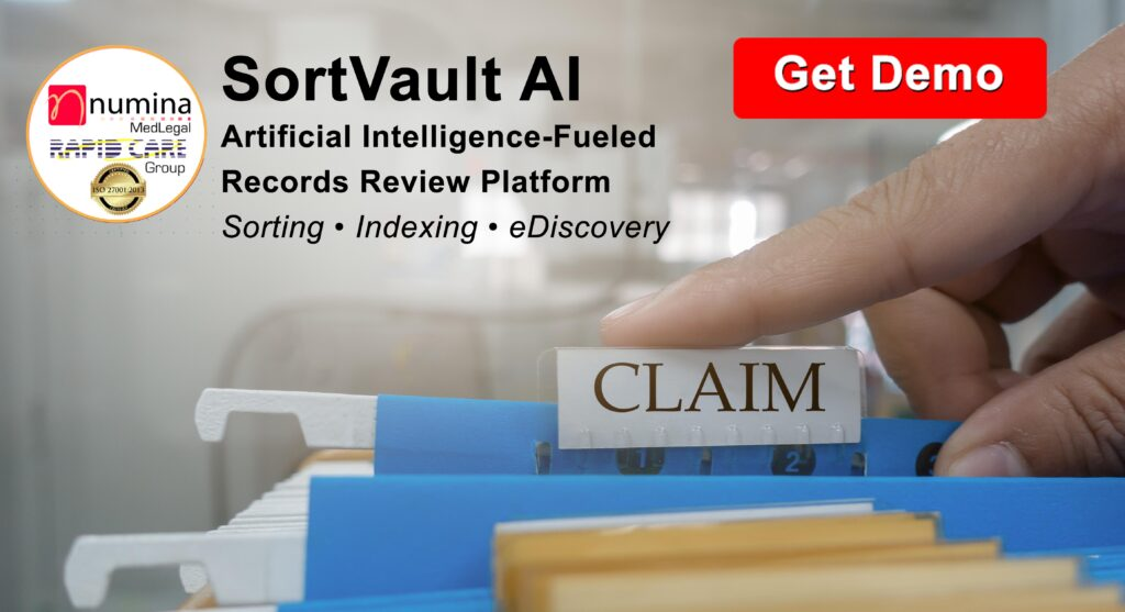 Get a Demo of AI-fueled SortVault for medical records review